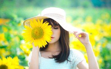 девушка, лето, шляпа, азиатка, подсолнужи