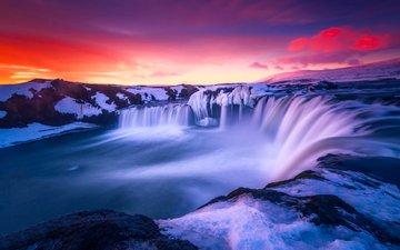 закат, пейзаж, водопад, islandia