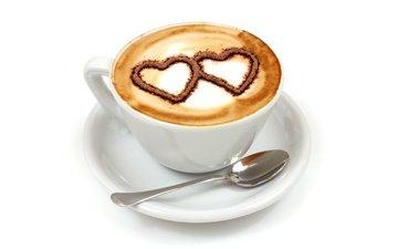кофе, завтрак, сердечки, кубок, влюбленная, сердечка