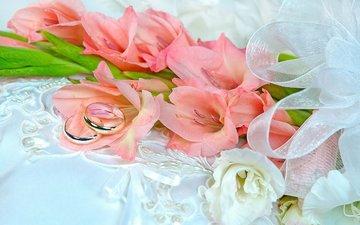 цветы, кольцо, кольца, свадьба, гладиолусы, букеты, gladioluses