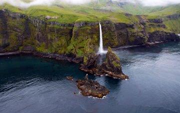 река, водопад, остров, аляска, insula tanaga, statele unite ale americii, tanaga