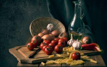 доска, лук, масло, овощи, нож, помидоры, натюрморт, перец, чеснок, макароны, оливковое