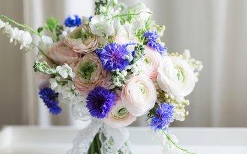 цветы, букет, васильки, дицентра, ранункулюс, лютик, букеты