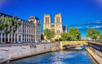 река, мост, париж, здания, франция, франци