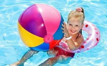 smile, summer, girl, pool, child, the ball