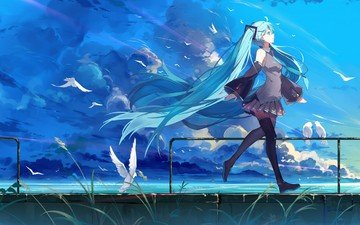 the sky, art, clouds, nature, girl, smile, form, anime, birds, vocaloid, haraguroi you, hatsune miku