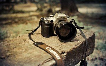 фотоаппарат, скамейка, камера, объектив, канон, ремешок