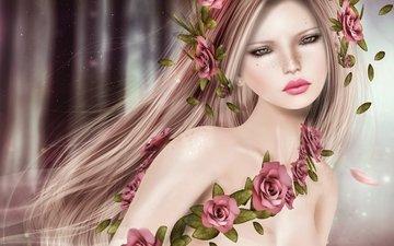 цветы, девушка, портрет, волосы, лицо