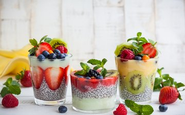 мята, малина, клубника, ягоды, коктейль, киви, черника, молоко, земляника, ежевика, голубика, ягоды малины, молока