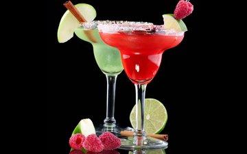 фон, напиток, малина, корица, лайм, коктейль, напитки, коктейли, бокалы, fruits