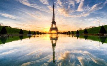 закат, отражение, париж, франция, зарево, эйфелева башня