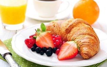 клубника, ягоды, апельсин, завтрак, выпечка, смородина, круасан, круассан, сок, baking