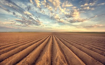 небо, облака, земля, природа, поле, горизонт, пашня, пахота