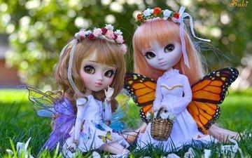 крылья, фея, девочки, венок, куклы