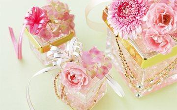 цветы, розовый, свадьба, украшение