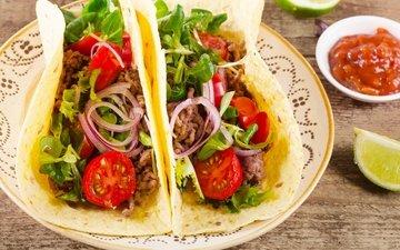 зелень, овощи, мясо, помидор, лаваш, быстрое питание
