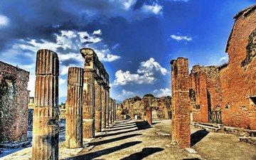 камни, развалины, руины, греция, колонны, hdr