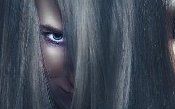 девушка, портрет, взгляд, лицо, эльф, фантазии, dark elf, голубой глаз, pixtuner