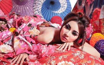цветы, настроение, макияж, японка, азиатка, гейша, зонтики
