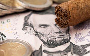 money, coins, dollar, cigar, bill, cuban cigar, weltreisendertj
