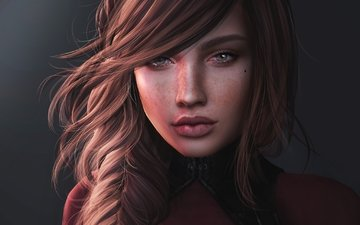 девушка, портрет, грусть, волосы, лицо, веснушки