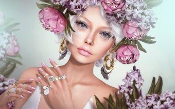 цветы, девушка, кольца, венок, сёрьги