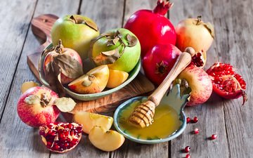 яблоки, зерна, дольки, мед, яблок, гранат, сухие листья, зерна граната