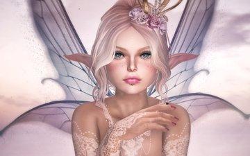 цветы, девушка, крылья, фея, эльф
