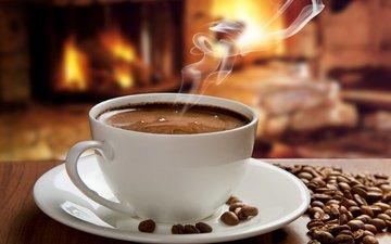 зерна, кофе, чашка, напитки, горячий, кубок