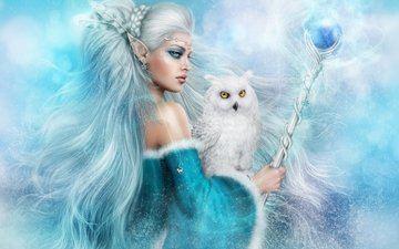art, owl, winter, girl, fantasy, bird, hair, staff, elf, magic, sorceress, volshebnitsa