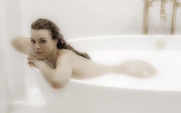попа, спина, волосы, женщина, ванна, прямой взгляд