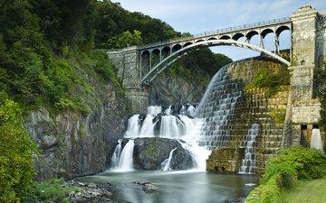 деревья, река, скалы, мост, водопад, сша, каскад, штат нью-йорк, маунт-эйри, кротон хадсон