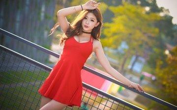 девушка, фон, платье, поза, азиатка, красное