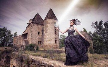 dress, castle, model, princess, mystic, mystery, 'irène cottinet, miss beaujolais, dominik fusina