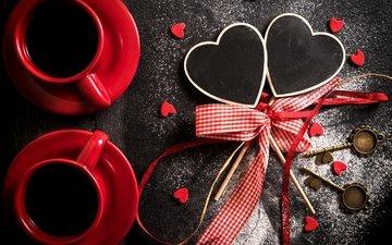 кофе, сердце, сердечки, чашки, день святого валентина, бант, кубок, valentines day, сердечка, 14февраля