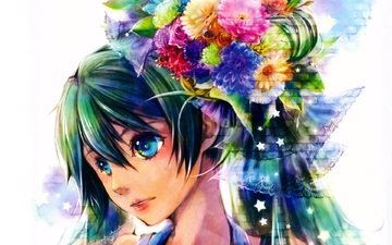 art, vocaloid, bouquet, face, stars, blue eyes, hairstyle, chrysanthemum, lace, umu, hatsune miku