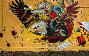 wall, eagle, grafiti