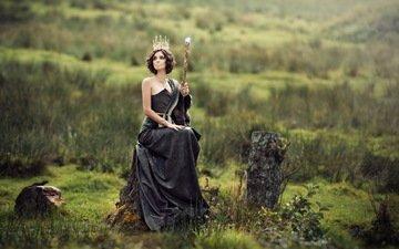 nature, girl, landscape, dress, brunette, fantasy, model, black dress, princess, audrey, dominik fusina, nymphe des campagnes