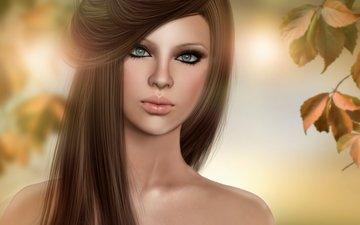 свет, листья, девушка, портрет, волосы, лицо, шатенка