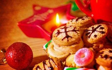 игрушки, свеча, рождество, печенье, выпечка, елочная, baking