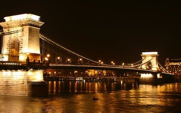 ночь, огни, река, венгрия, будапешт, дунай, цепной мост