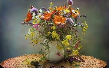 цветы, лето, лилия, букет, полевые, душистый горошек