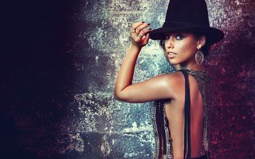 brunette, look, hat, alicia keys