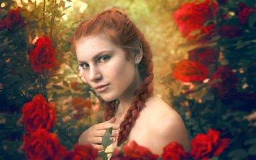 цветы, веснушки, ня, рыжеволосая, косички, tanya markova