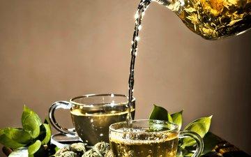 напитки, чай, чашки, травы, заварка, кубок