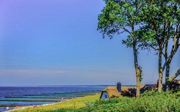 деревья, море, дом, крыша, германия, мекленбург-передняя померания, аренсхоп