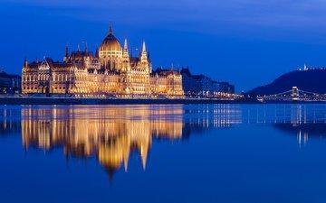 река, отражение, здание, венгрия, будапешт, дунай, hungarian parliament, danube, венгерский парламент