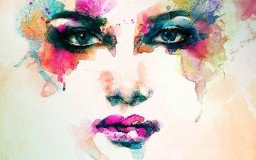 art, girl, portrait, color, watercolor