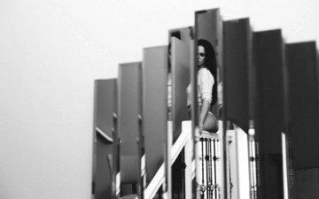 девушка, отражение, ситуация, креатив