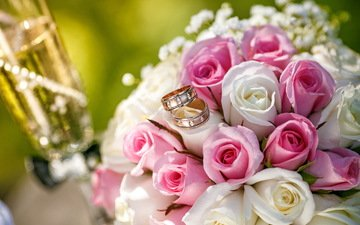 roses, bouquet, ring, wedding, champagne, wedding bouquet, bouquets